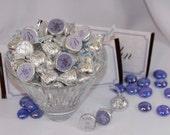 Elegant Purple Kisses Stickers. Customized. Great for Bridal Showers, Wedding Receptions, Candy Buffets and more.