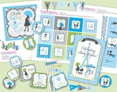 Boy PARIS Baby Shower DIY Party Printables Package. Blue, GREEN, Black and White. Party Printables customized just for you.