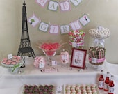 Chic PARIS Baby Shower DIY Party Printables Package. Pink, Green, Black and White. Party Printables customized just for you.