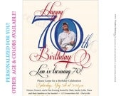 Mens 70th Birthday. Printable Milestone Birthday Invitations customized just for you. Other age and color options available.