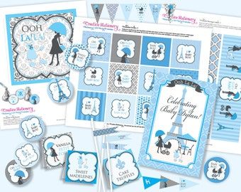 Boy PARIS Baby Shower DIY Party Printables Package. Blue, Black and White. Party Printables customized just for you.