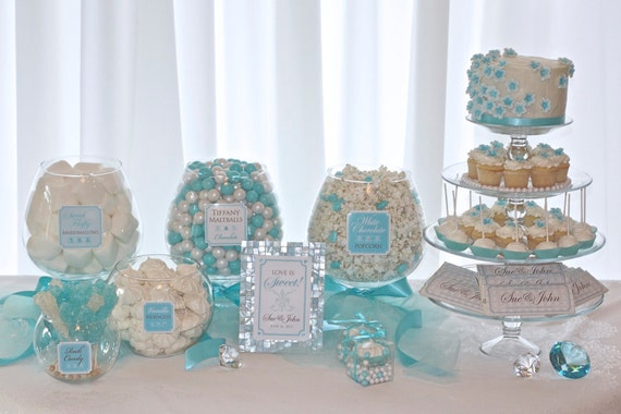 Elegant Blue Candy or Dessert Buffet Printable Package. Customized just for you. Wedding Receptions, Bridal Showers and more.