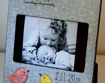 Big Sister Little Sister, Big Sis, Sisters, New baby, Sibling, Picture Frame, Custom, Picture Frame Personalized Sisters Gift Children 4x6