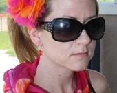 Long vintage scarf and matching hair flower headband and glass flower earrings.