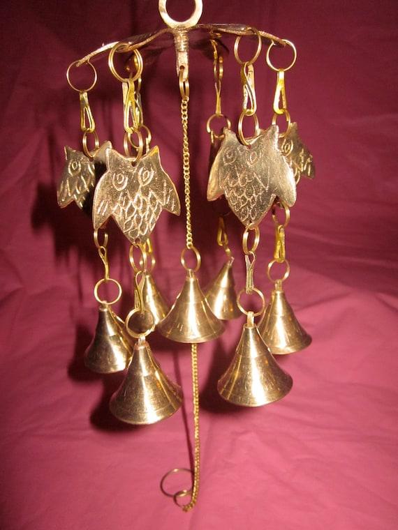 Vintage Bronze Owl Wind Chimes