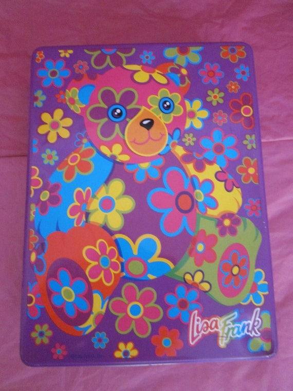 Lisa Frank 90's Large Blossom Bear Tin