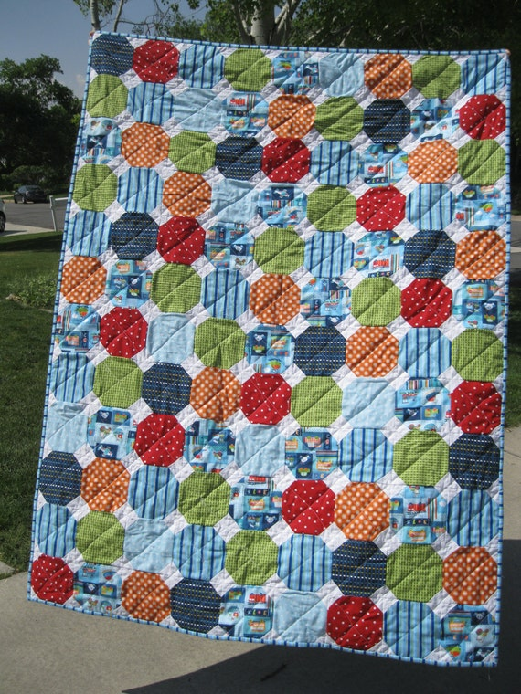 Baby boy bright snowball quilt trucks red by quackadoodlequilt for Little blue truck fabric