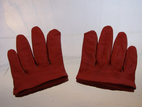 SALE: Hot red leather finger gloves from Patricia Field
