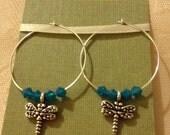 Antique Silver Dragonfly Dangle & Crystal Hoop Earrings