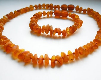 Baltic Amber Baby Teething Necklace & Baby Bracelet.  Unpolished  Cognac color beads. Effective Pain Relief Solution.