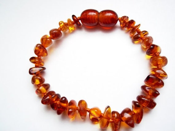 Baltic Amber Baby Teething Bracelet.  Cognac color beads.