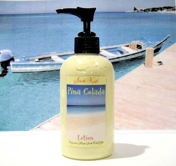 Pina Colada Lotion - Body Butter in a Pump Bottle - Vegan Lotion with Organic Ingredients - 8oz
