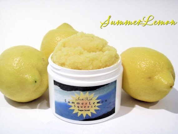 Lemon Sugar Scrub - Summer Lemon Squeeze - Emulsifying Scrub With Organic Ingredients - 8oz Size Jar.