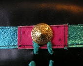 iphone wallet, 3, 4, 4s, smart phone, droid, Blackberry, Black leather, turquoise, pink OOAK pod case, wallet, card case, upcycled. OOAK