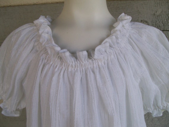 Special order for Jackie.  A white striped crinkle gauze peasant blouse.