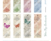 romantic printable tags bookmarks 1 inch X 4 inches butterflies flourishes crown handwriting soft layers wedding shower for her girl's party