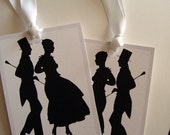 sophisticated silhouette printed tags black and white dove grey wishing tree chevron ties