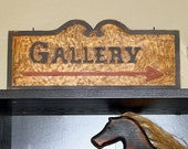 Hand Carved Wooden Gallery Sign / Advertising