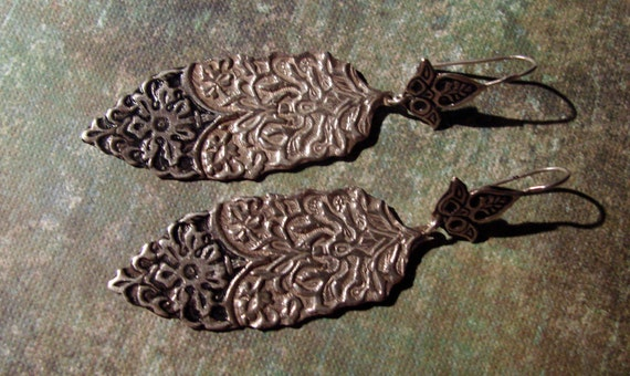 RESERVED FOR N Beautiful  Egyptian Repousse Tribal Sterling Silver Earrings