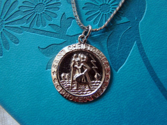 Vintage Saint Christopher Protection Sterling Silver Pendent