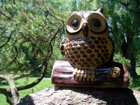 Mexican Pottery, Owl Decor, Animal Decor Vintage Netzi Mexican Pottery, Owl on Log, Ceramic Bird, Bird Decor, Antique Alchemy