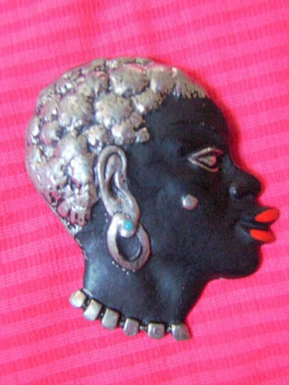 Beautiful Vintage Blackamoor African Brooch Circa 1950