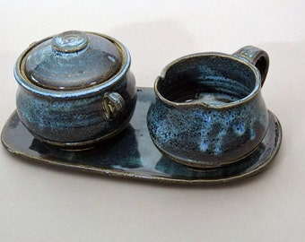 Cream and sugar, ceramic creamer and sugar bowl,pottery, handmade