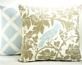 """Bird and Floral Decorator Pillow Cover - Taupe Brown, Powder Blue and White - To cover 20""""x20"""" Pillow Form"""