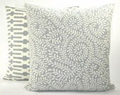 """Contemporary Annie Selke """"Scramble"""" Vine Decorator Pillow Cover - Slate and White - To Cover 20""""x20"""" Pillow Form"""