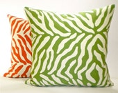 """Modern Zebra Print Decorator Pillow Cover with Same Fabric Both Sides - Grass Green and Soft White - Cover 18""""x18"""" Pillow Form"""