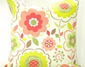 """Designer """"Ritzy Watermelon"""" Pillow Cover - Coral, Green & White - To cover 18""""x18"""" Pillow Form"""