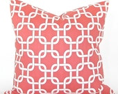 """Premier """"Gotcha"""" Geometric Decorator Pillow Cover - Coral and White Fabric Both Sides - To cover 20""""x20"""" Pillow Form"""