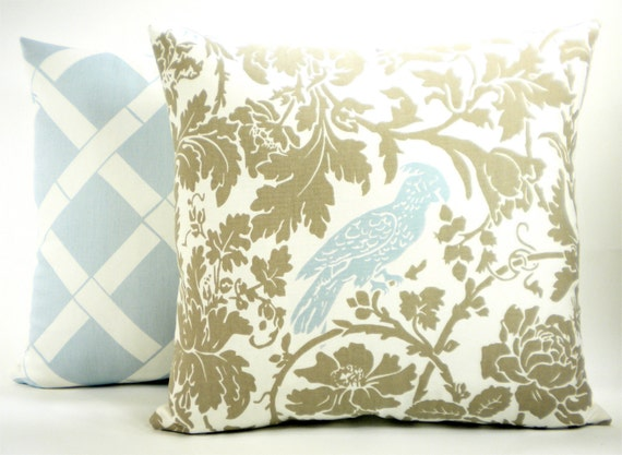 """Reserved for Jen - """"Barber"""" Decorator Pillow Cover - Taupe Brown, Powder Blue and White Fabric Both Sides - To cover 16""""x16"""" Pillow Form"""