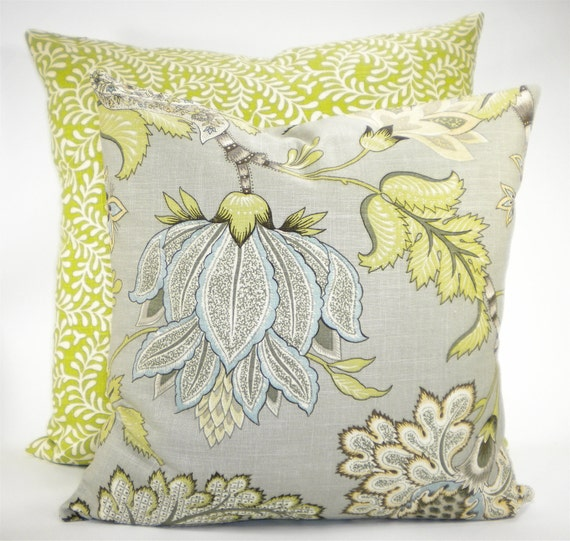 """Kaufman """"Clarice""""  Dove Grey Decorator Both Sides Fabric Pillow Cover - Greys, Tans, Greens  and Ivory - To cover 20"""" x 20"""" Pillow Form"""