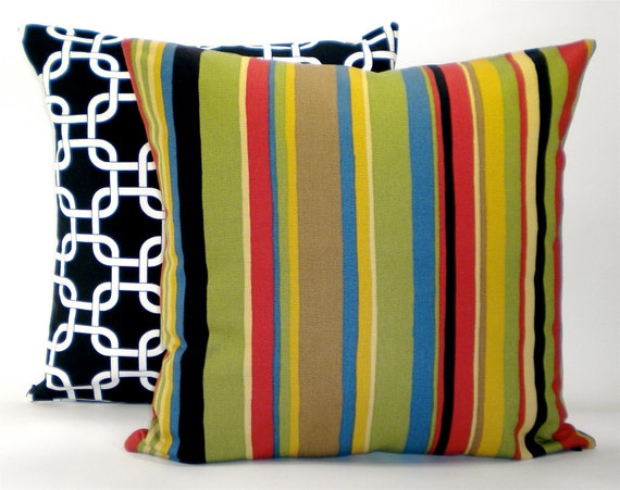 """Contemporary Kaufman """"Bazaar"""" Stripe Decorator Pillow Cover - Black, Red, Green, Brown Fabric Both Sides - To cover 18""""x18"""" Pillow Form"""
