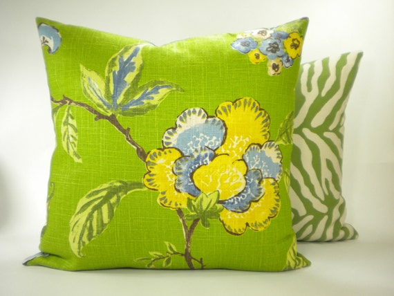 "Designer Robert Allen ""Les Fauves"" Pillow Cover - Yellow and Blue on Green Fabric Both Sides - To cover 20"" x 20"" Pillow Form"