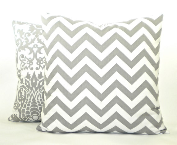 "Premier Prints ""Zig Zag"" Chevron Decorator Pillow Cover - Ash Grey and White - To cover 20""x20"" Pillow Form"
