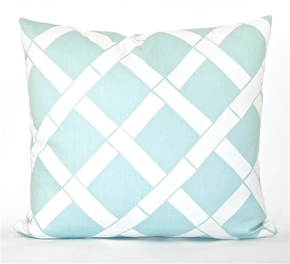 """Bamboo """"Key West"""" Decorator Pillow Cover - Powder Blue and White - To cover 20""""x20"""" Pillow Form"""