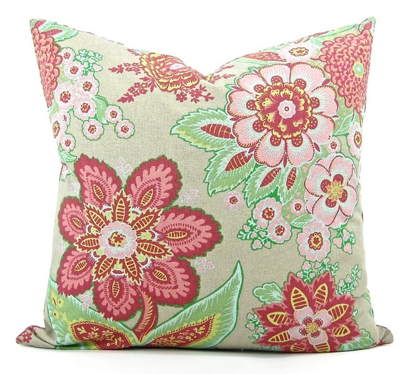 "Designer Annie Selke ""Shalini"" Floral Fabric Both Sides Pillow Cover - Raspberry, Coral, Greens & Taupe - To Cover 20""x20"" Pillow Form"