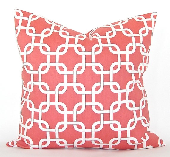 "Premier ""Gotcha"" Geometric Decorator Pillow Cover - Coral and White Fabric Both Sides - To cover 20""x20"" Pillow Form"