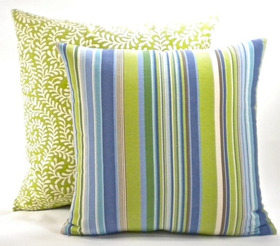 """Reserved for Christopher - 2 Annie Selke Stripe Pillow Cover-Fabric Both Sides-Blues, Greens and White - To cover 20""""x20"""" Pillow Form"""