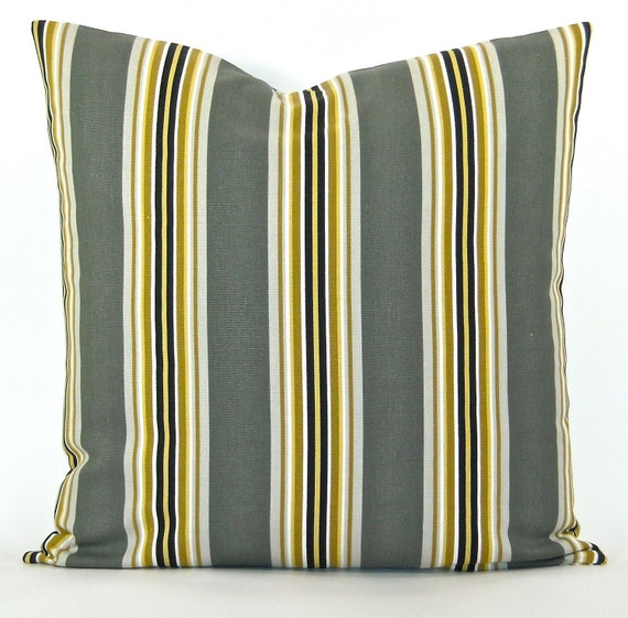 """Decorator Stripe Pillow Cover - Grey, Yellow, Gold, Black, Tan & White Stripe Fabric Both Sides - To cover 20""""x20"""" Pillow Form"""
