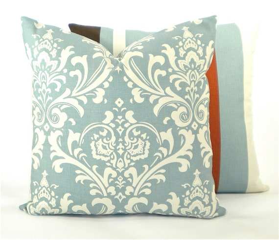 "Premier Damask Decorator Pillow Cover - Village Blue and Natural - To cover 20""x20"" Pillow Form"