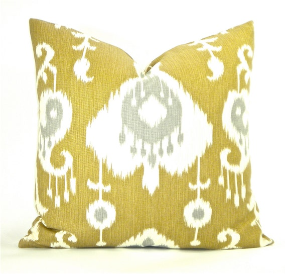 """Decorator Ikat Fabric Both Sides Pillow Cover - Hemp Brown, Grey & Ivory - To cover 20"""" x 20"""" Pillow Form"""