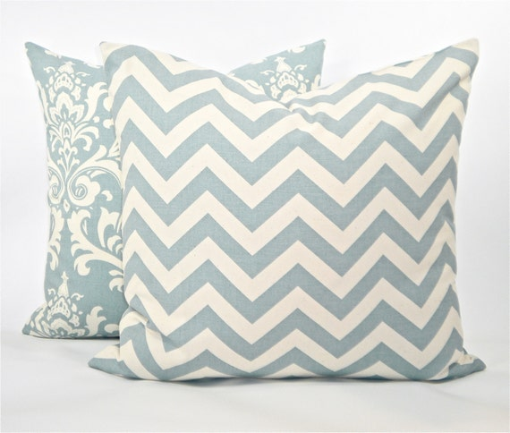 """Reserved for Farahamizah - """"Zig Zag"""" Village Blue Decorator Pillow Cover - Village Blue and Natural - To cover 18""""x18"""" Pillow Form"""