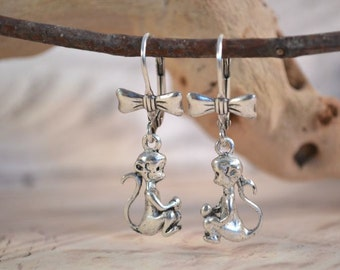 Baby Monkey Earrings, Sweet Monkey and Bow Earrings, Silver Finish