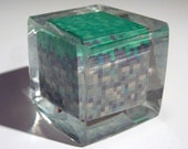 Minecraft Grass resin block cube ornament.  Geeked out paperweight.