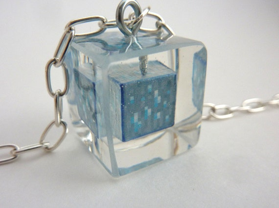 Minecraft Diamond cube resin necklace.  Shiny. Bling. Geeker.  Necklace.