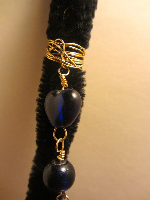 blue heart bead gold wire wrapped spiral dread locs braids