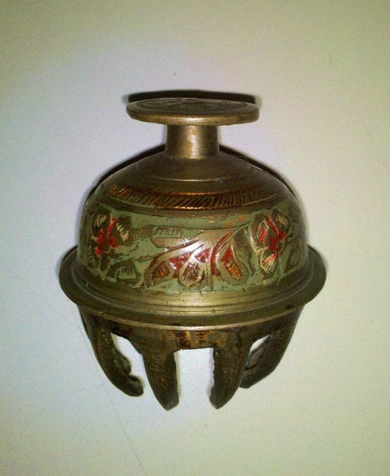 Antique Claw Brass Bell Decorative Engraved Painted
